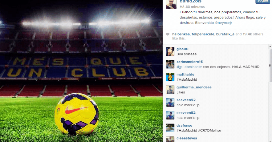 26.out.2013 - Dani Alves posta foto no Instagram dando boas vindas a Neymar para amistoso