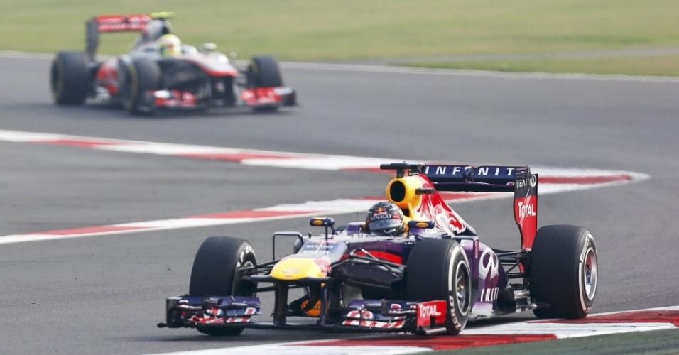 26.out.2013 - Sebastian Vettel cravou a pole position no GP da Índia de Fórmula 1 e pode conquistar no domingo o título da temporada