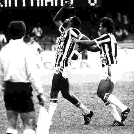 Serginho Chulapa, atacante do Santos, comemora gol marcado pelo clube na final do Paulista de 1984 - Folhapress
