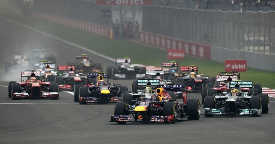27.out.2013 - Sebastian Vettel, Nico Rosberg, Lewis Hamilton, Mark Webber e Felipe Massa largaram nas cinco primeiras posições do Grande Prêmio da Índia