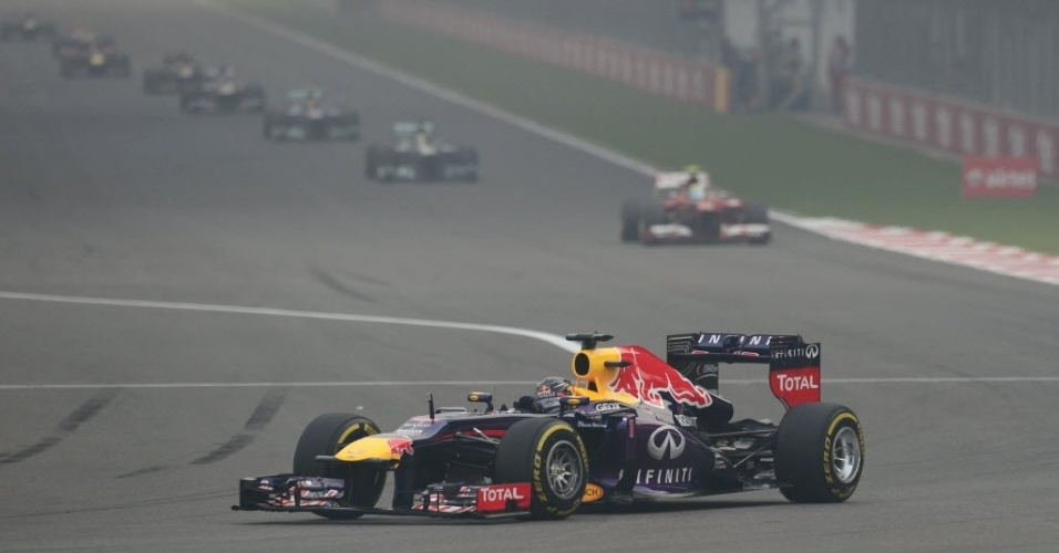 27.out.2013 - Sebastian Vettel precisava apenas de um quinto lugar no Grande Prêmio da Índia para ser campeão independentemente de outros resultados