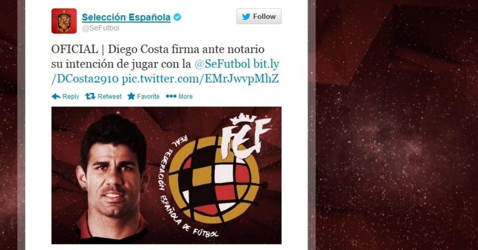 29out2013 - Twitter da Federação Espanhola de Futebol divulgou que Diego Costa jogará pelo país