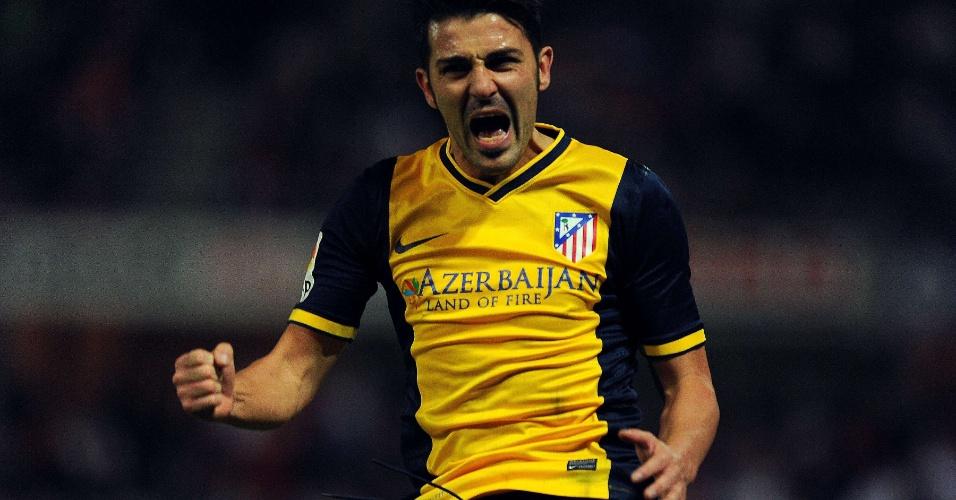31.out.2013 - David Villa vibra após marcar o segundo gol do Atlético de Madri contra o Granada pelo Campeonato Espanhol
