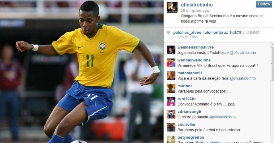 Robinho usou as redes sociais para celebrar retorno à seleção brasileira
