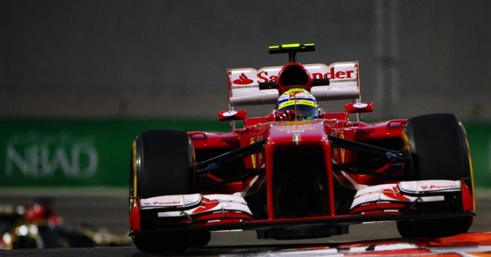 Felipe Massa (foto) e Fernando Alonso ficaram abaixo dos dez melhores nos treinos livres em Abu Dhabi