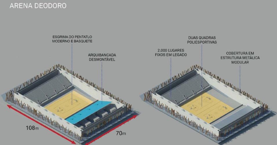 6.nov.2013 - Arena Deodoro, com 5 mil lugares, receberá competições de esgrima do pentatlo moderno e basquete