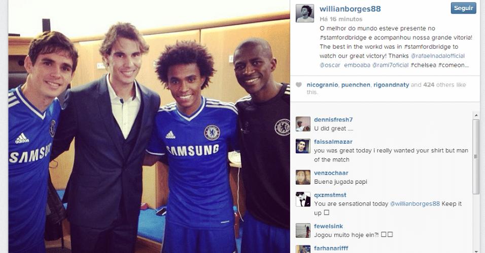 Nadal tieta brasileiros Oscar, Willian e Ramires após jogo do Chelsea contra o Schalke 04 pela Liga dos Campeões