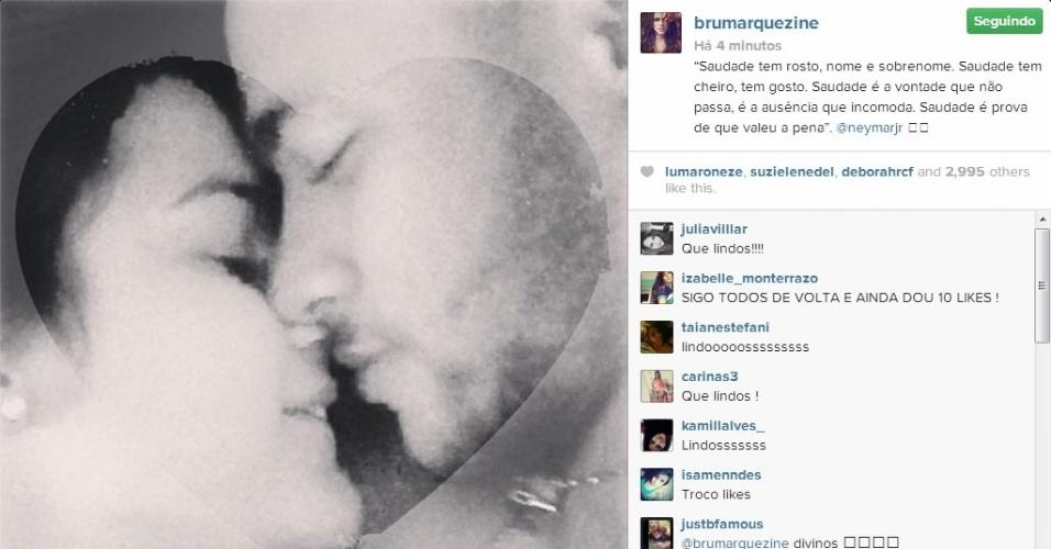 """Bruna Marquezine se declara para Neymar: """"Saudade tem rosto, nome e sobrenome. Saudade tem cheiro, tem gosto. Saudade é a vontade que não passa, é a ausência que incomoda. Saudade é prova de que valeu a pena"""""""