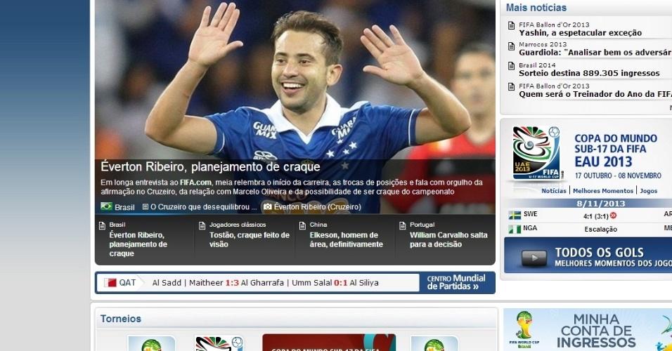 8 novembro 2013 - Everton Ribeiro recebe destaque no site da Fifa, que entrevistou o meia do Cruzeiro, um dos destaques do líder do Brasileirão