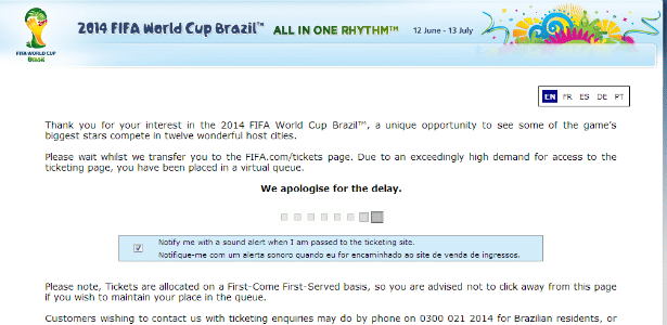 Sistema da Fifa para venda de ingressos da Copa do Mundo de 2014 informa excesso de procura