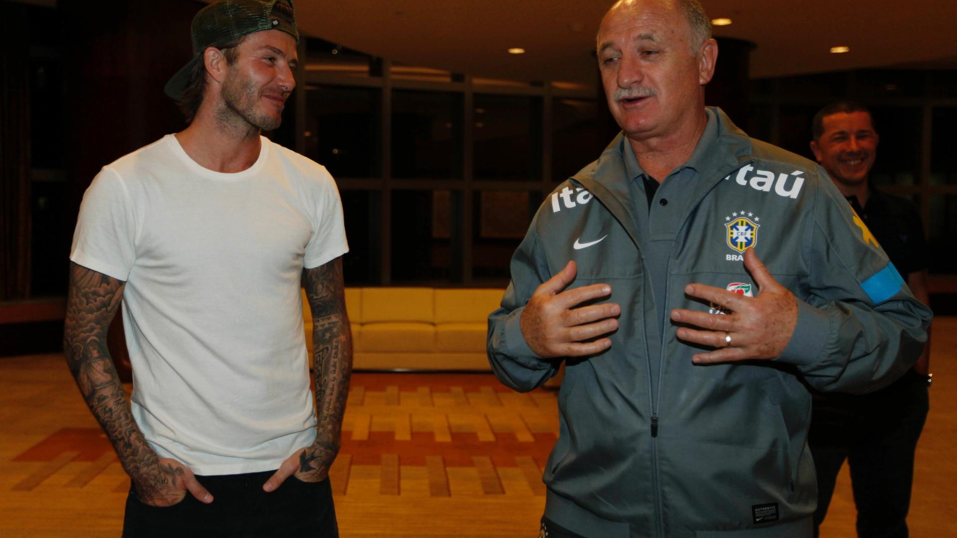 Beckham e Felipão conversam no hotel da seleção brasileira