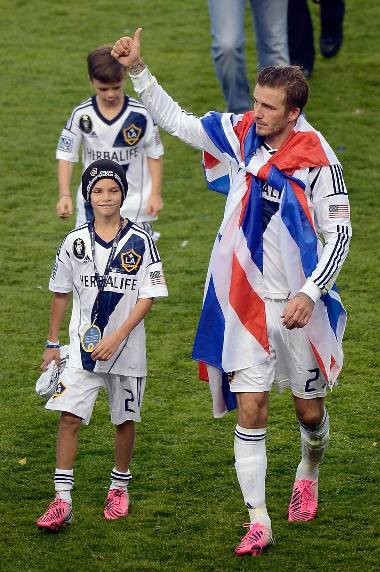 David Beckham ao lado do seu filho Romeo