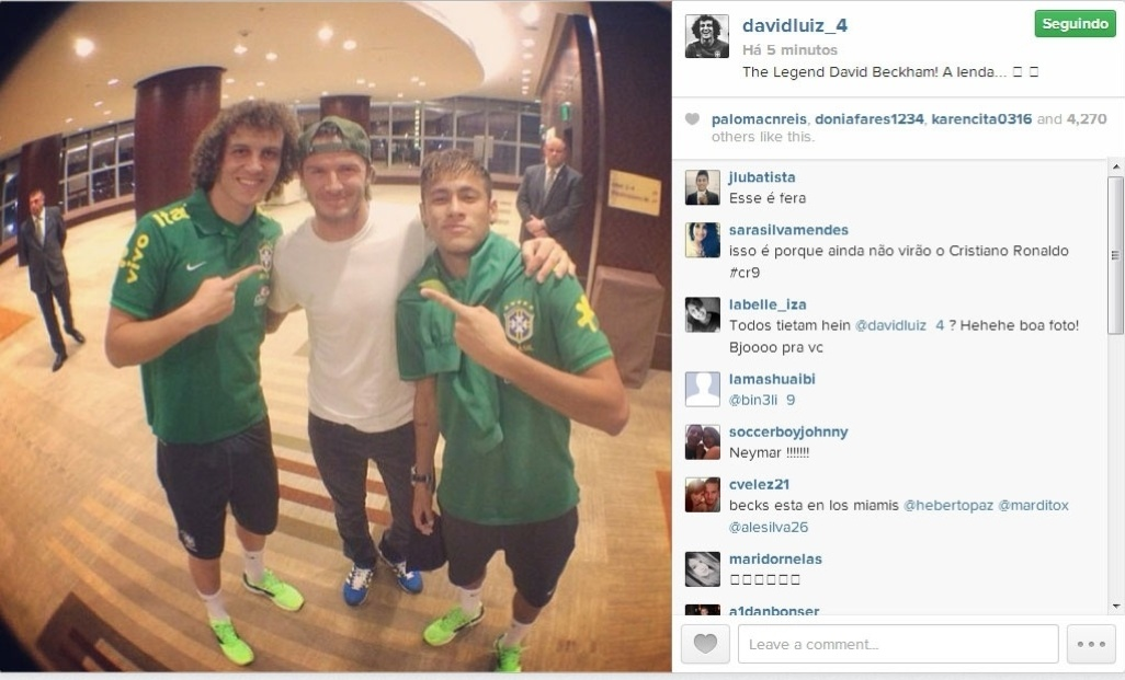 David Luiz, Beckham e Neymar