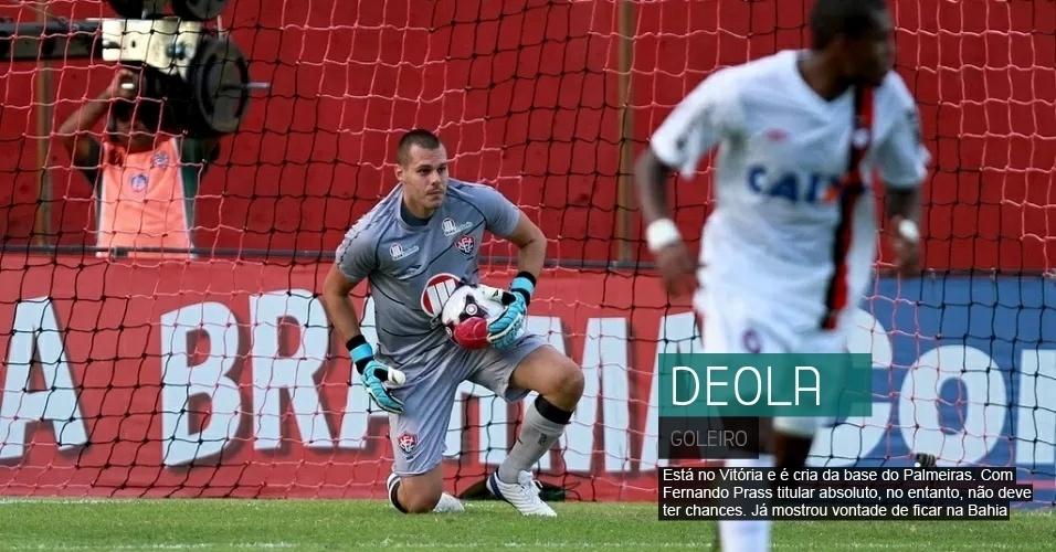 O goleiro Deola está no Vitória e é cria da base do Palmeiras. Com Fernando Prass titular absoluto, no entanto, não deve ter chances