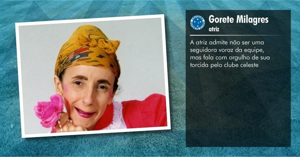 Torcedores ilustres do Cruzeiro: Gorete Milagres, atriz