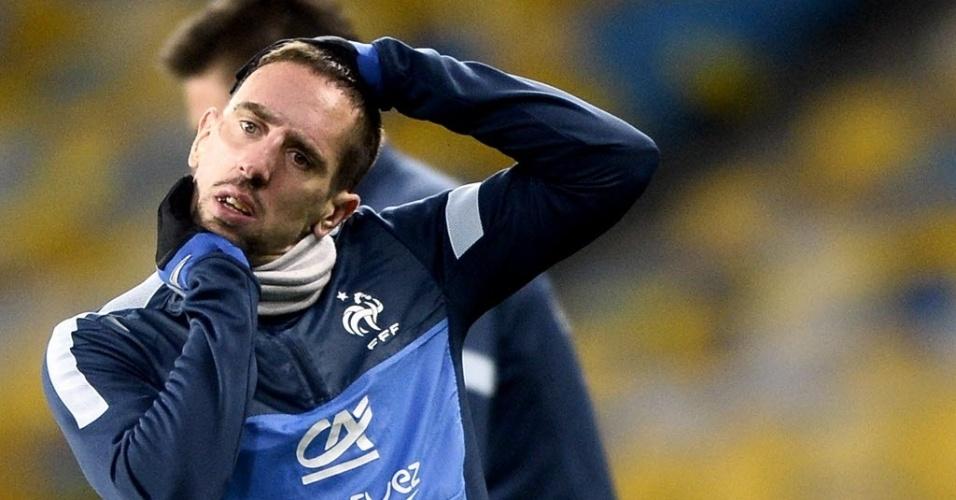 14.nov.2013 - Ribéry, destaque do Bayern de Munique, é também o principal jogador da França que joga por uma vaga na Copa diante da Ucrânia