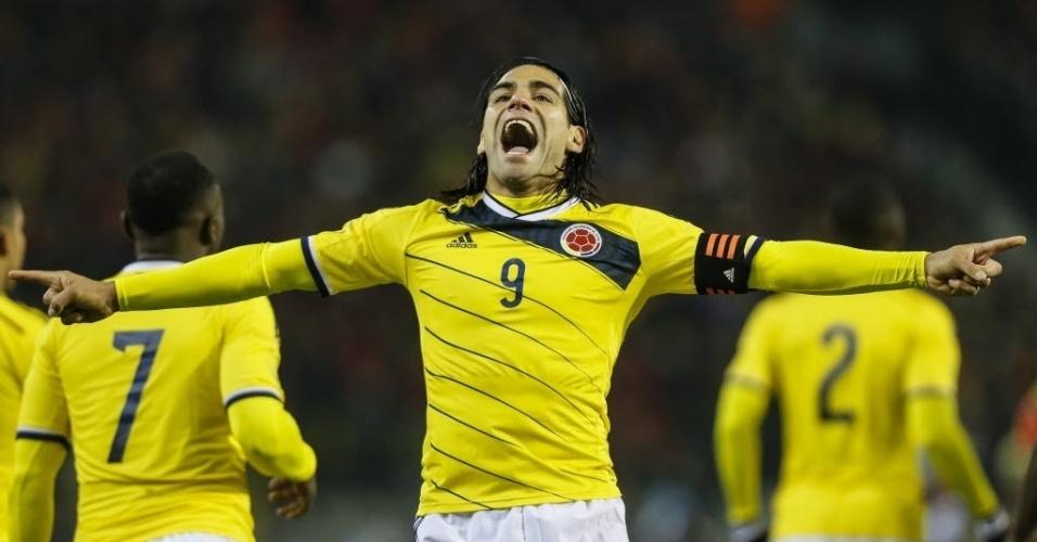 14.nov.2013 - Falcao Garcia comemora gol da Colômbia contra a Bélgica em partida amistosa; colombianos venceram por 2 a 0
