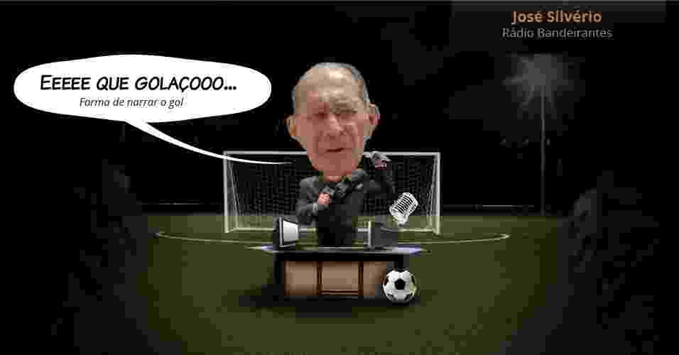 José Silvério (Rádio Bandeirantes): Eeeee que golaçooo... (Forma de narrar o gol) - Arte UOL