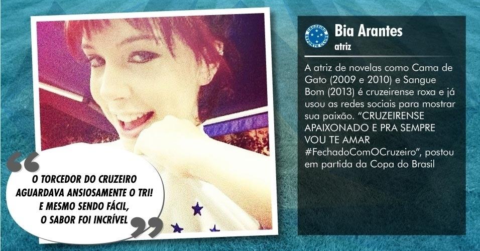 Torcedores ilustres do Cruzeiro: Bia Arantes, Atriz