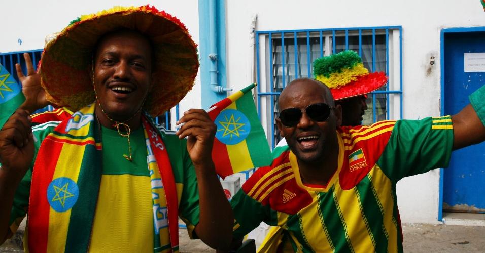 16.nov.2013 - Torcedores da Etiópia antes da partida contra a Nigéria