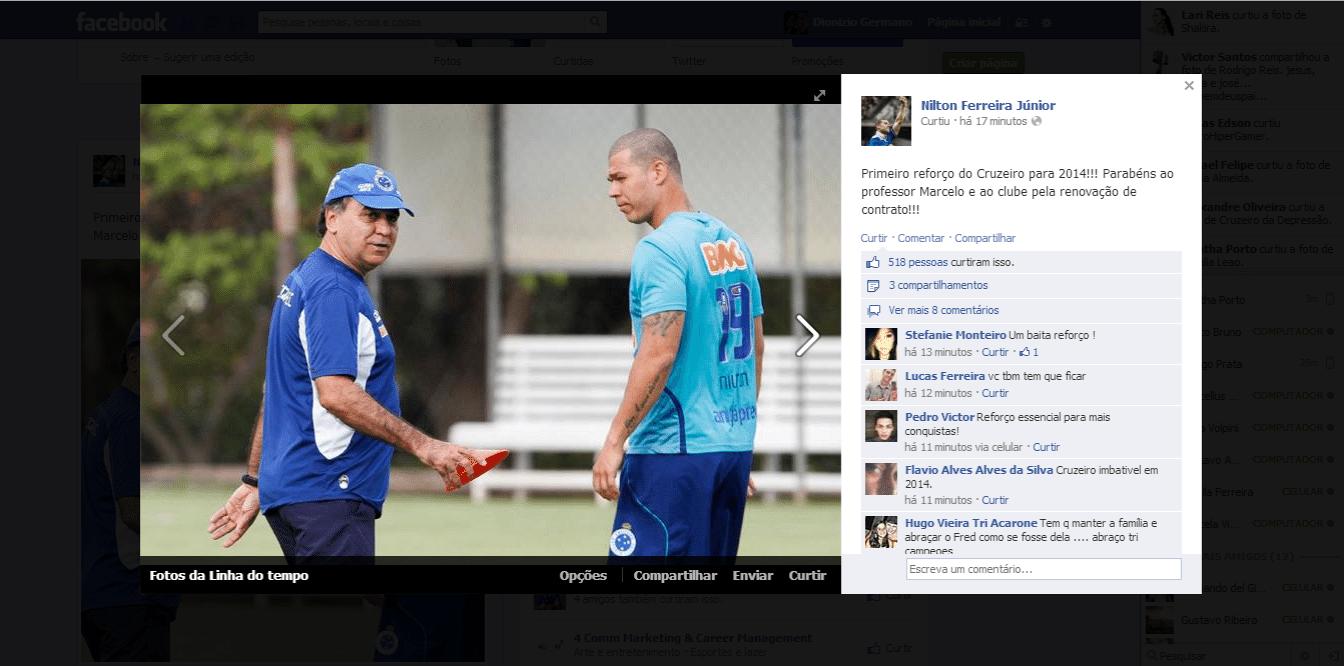 19 nov 2013 - Volante Nilton comemora a permanência de Marcelo Oliveira no Cruzeiro para a temporada 2014