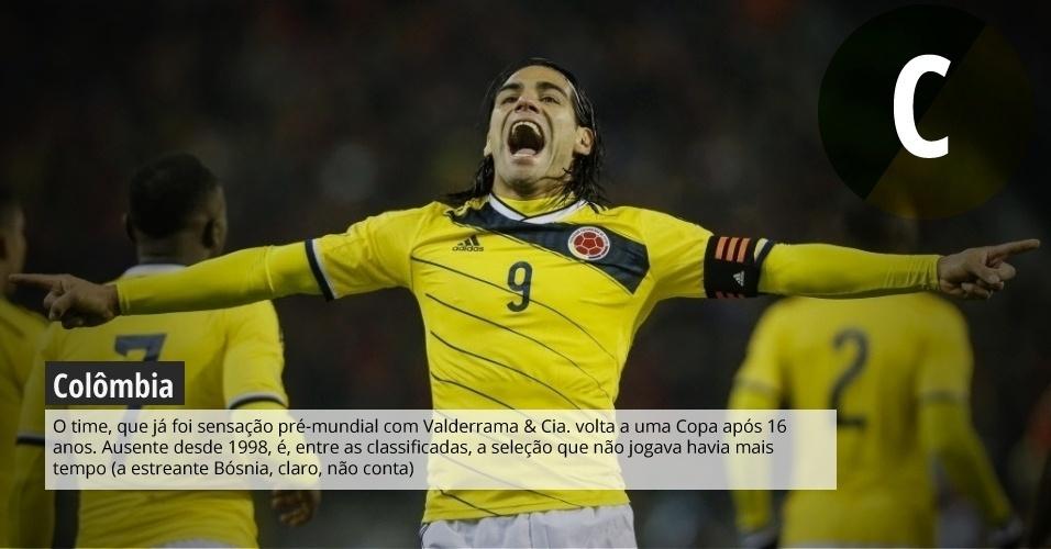 Colômbia: o time, que já foi sensação pré-mundial com Valderrama & Cia. volta a uma Copa após 16 anos. Ausente desde 1998, é, entre as classificadas, a seleção que não jogava havia mais tempo (a estreante Bósnia, claro, não conta)