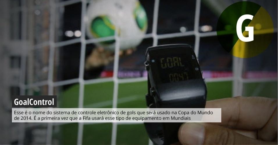 GoalControl: esse é o nome do sistema de controle eletrônico de gols que será usado na Copa do Mundo de 2014. É a primeira vez que a Fifa usará esse tipo de equipamento em Mundiais.