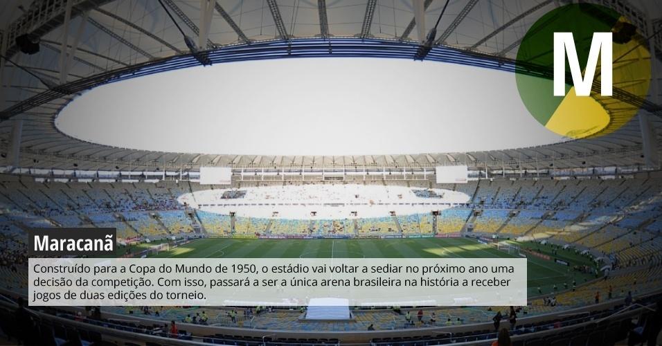 Maracanã: Construído para a Copa do Mundo de 1950, o estádio vai voltar a sediar no próximo ano uma decisão da competição. Com isso, passará a ser a única arena brasileira na história a receber jogos de duas edições do torneio.