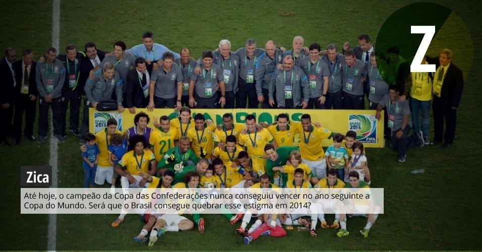 Zica: até hoje, o campeão da Copa das Confederações nunca conseguiu vencer no ano seguinte e a Copa do Mundo. Será que o Brasil consegue quebrar esse estigma em 2014?
