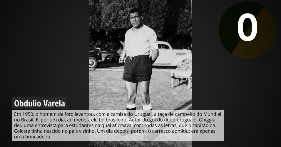 Em 1950, o homem da foto levantou, com a camisa do Uruguai, a taça de campeão do Mundial no Brasil. E, por um dia, ao menos, ele foi brasileiro. Autor do gol do título uruguaio, Ghiggia deu uma entrevista para estudantes na qual afirmava, com todas as letras, que o capitão da Celeste tinha nascido no país vizinho. Um dia depois, porém, o carrasco admitiu: era apenas uma brincadeira