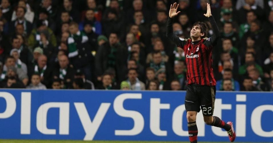 26.nov.2013 - Kaká comemora após abrir o placar para o Milan contra o Celtic pela Liga dos Campeões