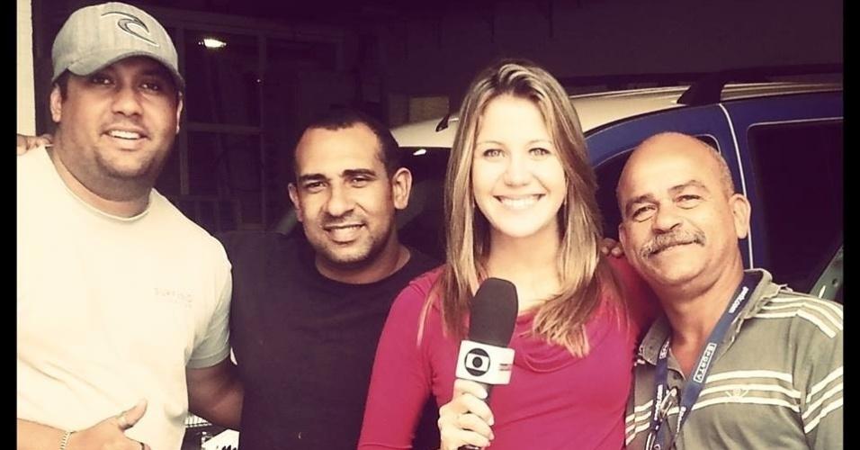 Bárbara Coelho com a equipe do SporTV, onde trabalha desde julho deste ano