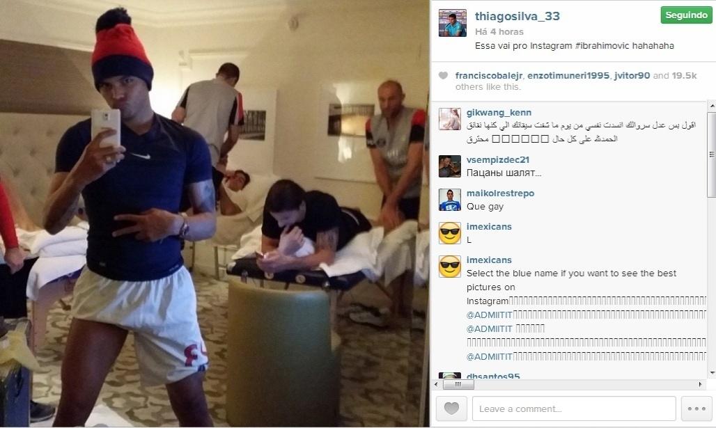 Thiago Silva faz pose estranha na web