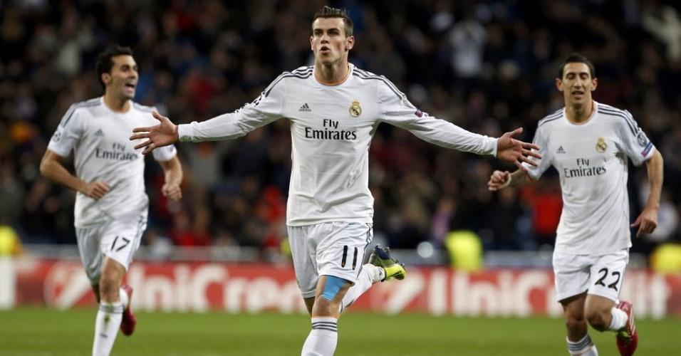 27. nov. 2013 - Bale comemora gol marcado contra o Galatasaray pela Liga dos Campeões