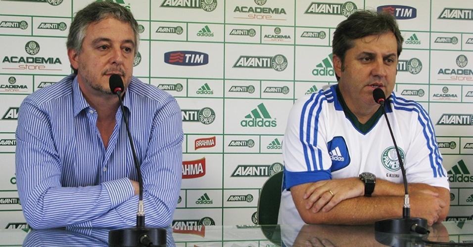 27.11.2013- Paulo Nobre e Gilson Kleina concedem entrevista no Palmeiras