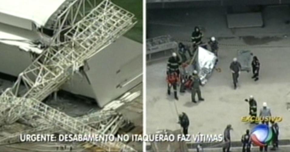 Bombeiros cobrem o corpo de uma das vítimas do desabamento no Itaquerão, nesta quarta-feira