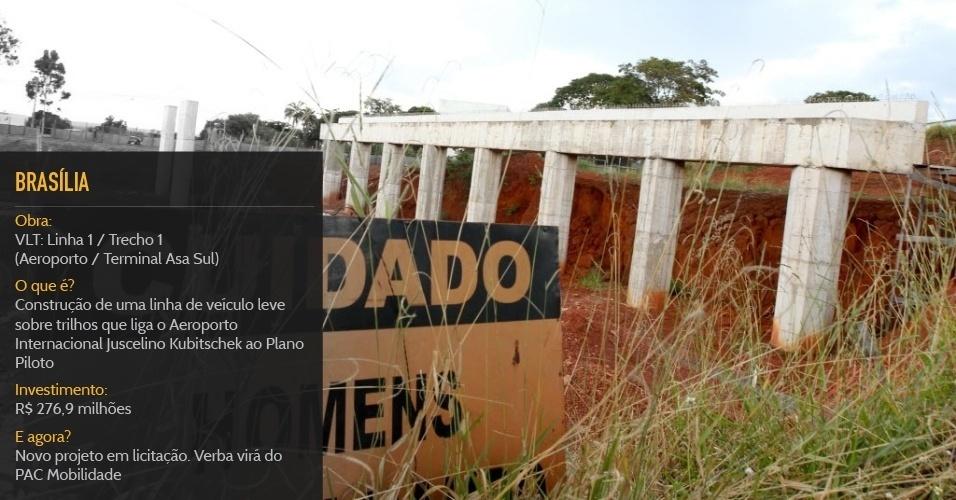 """Cidade sede:BrasíliaObra:""""VLT: Linha 1 / Trecho 1 (Aeroporto / Terminal Asa Sul)""""O que é?Construção de uma linha de veículo leve sobre trilhos que liga o Aeroporto Internacional Juscelino Kubitschek ao Plano PilotoInvestimento:R$ 276,9 milhõesStatus:Novo projeto em licitação. Verba virá do PAC Mobilidade"""