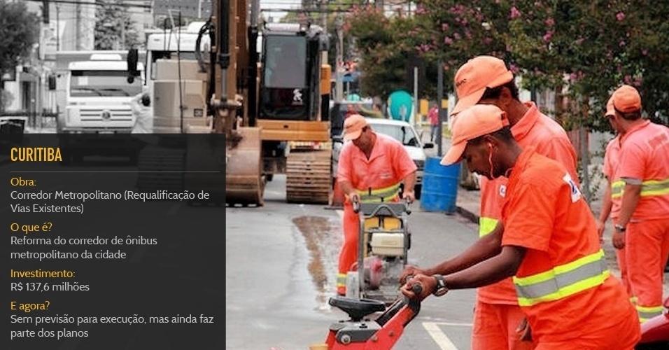 Cidade sede:CuritibaObra:Corredor Metropolitano (Requalificação de Vias Existentes)O que é?Reforma do corredor de ônibus metropolitano da cidadeInvestimento:R$ 137,6 milhõesStatus:Sem previsão para execução a. mas ainda faz parte dos planos