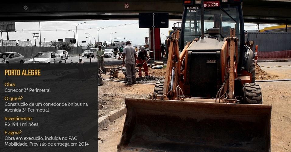 Cidade sede:Porto AlegreObra:Corredor 3ª PerimetralO que é?Construção de um corredor de ônibus na Avenida 3ª PerimetralInvestimento:R$ 194,1 milhõesStatus:Obra em execução, incluida no PAC Mobilidade. Previsão de entrega em 2014