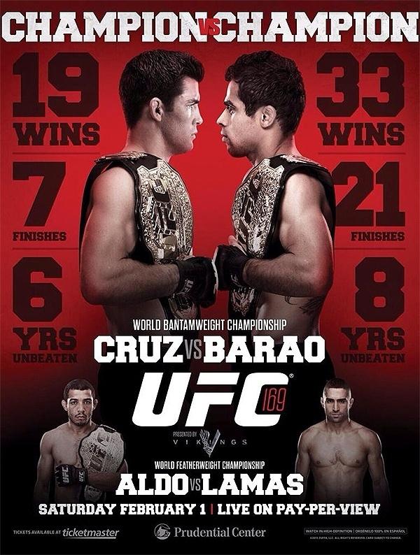 Pôster do UFC 169 compara os números de Dominick Cruz e Renan Barão na unificação do cinturão dos galos