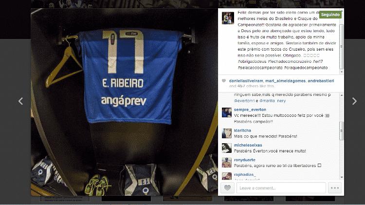 """29 nov 2013 - Everton Ribeiro se manifesta via facebook e instagram para comemorar o título de """"craque do Campeonato"""" - Reprodução - Reprodução"""