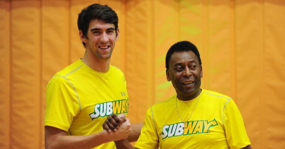 Evento em São Paulo contou com a presença de Pelé e do ex-nadador Michael Phelps