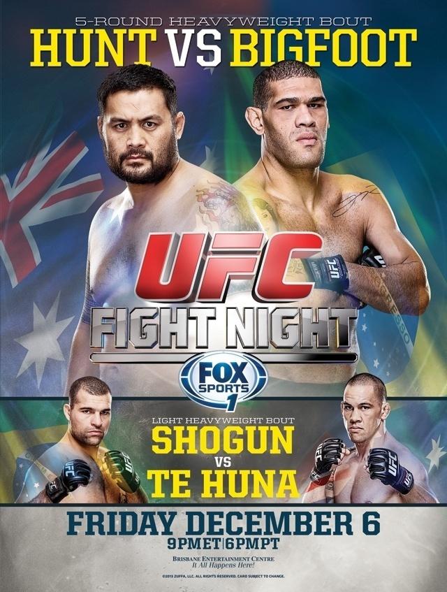 Pôster do UFC de 6/12, em Brisbane (Austrália), destaca o combate de pesos pesados entre Antonio Silva, o Pezão, e Mark Hunt