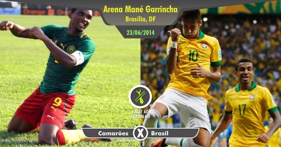 Além de jogo do Brasil ser praticamente dia de folga, esta partida deverá definir o futuro da nossa seleção nas oitavas de final da Copa. Não acha suficiente? Então pense que será a chance de ver Neymar enfrentar ninguém menos do que Samuel Eto'o