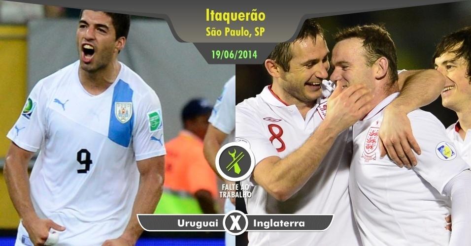 """Vai perder o duelo entre Luis Suárez e Wayne Rooney no estádio do Corinthians? É briga de gente grande no """"grupo da morte"""". Não dá para deixar de acompanhar"""