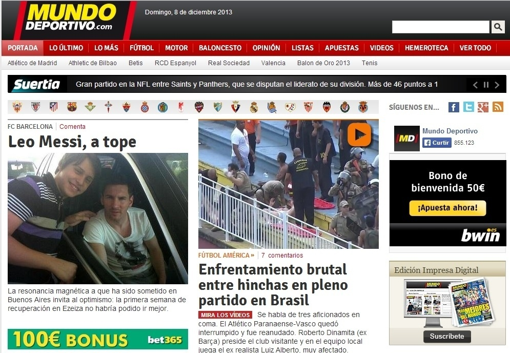 08.dez.2013 - 'Enfrentamento brutal', destacou a publicação espanhola Mundo Deportivo