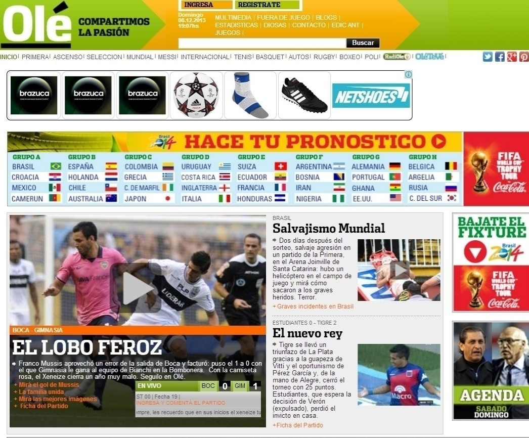 08.dez.2013 - O argentino Olé destacou a briga dois dias depois do sorteio dos grupos para a Copa de 2014