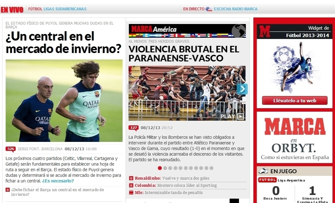 08.dez.2013 - O espanhol Marca destacou a 'violência brutal' da torcida