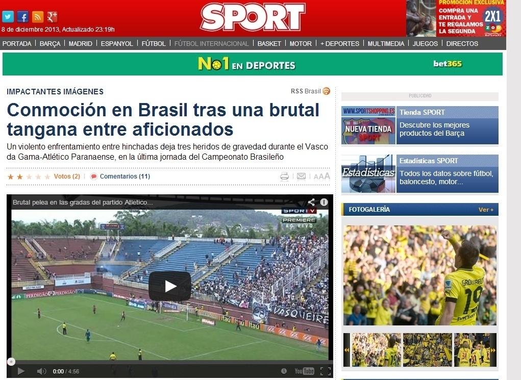 08.dez.2013 - O espanhol Sport também destacou a briga com feridos no jogo entre Atlético-PR e Vasco