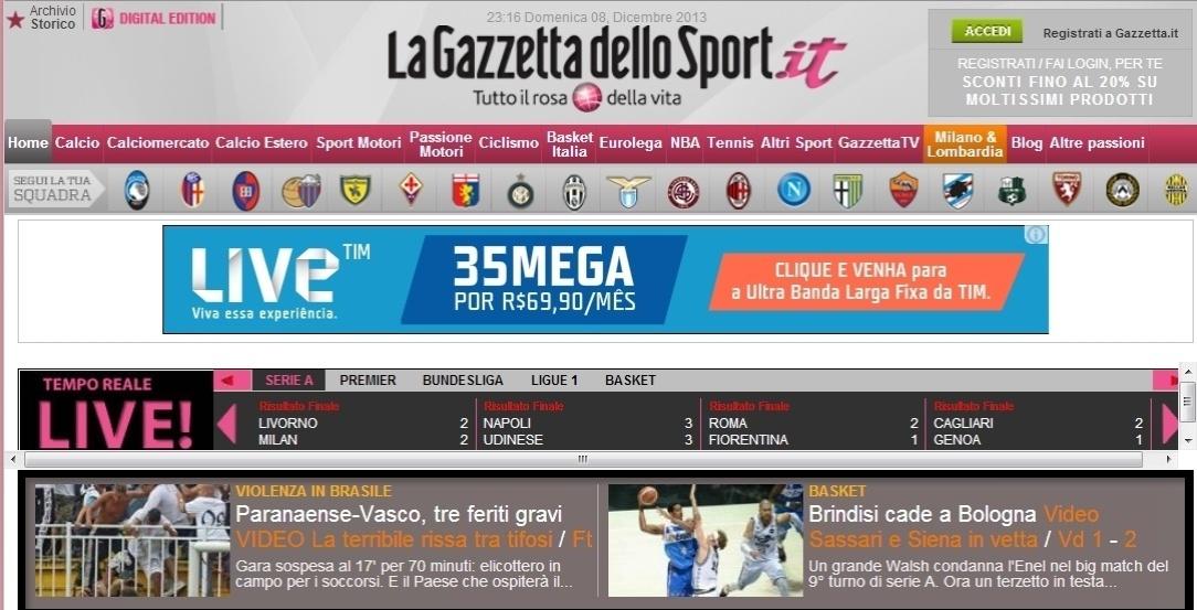 08.dez.2013 - O jornal italiano Gazzeta dello Sport também repercutiu a confusão entre torcedores